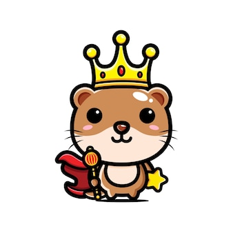 Schattige koning otter characterdesign