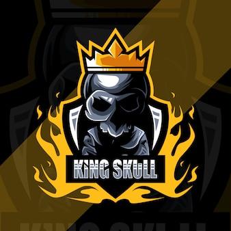 Schattige koning schedel mascotte logo ontwerp