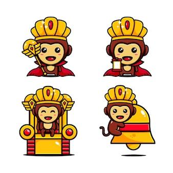 Schattige koning van aap karakter ontwerp ingesteld thema koninkrijk