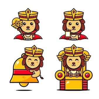 Schattige koning van leeuwen karakter ontwerp ingesteld thema koninkrijk