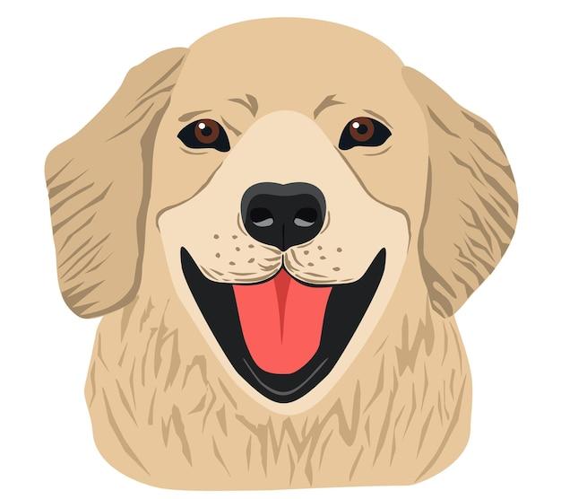 Schattige labrador retriever schattig huisdier hondenras lijn kunst logo golden retriever geïsoleerd
