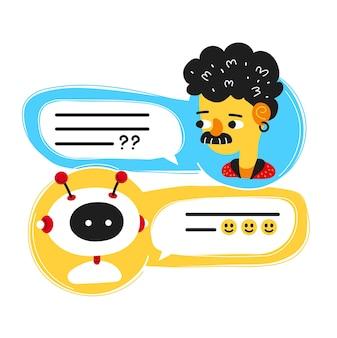 Schattige lachende ai chat bot geschreven met persoon man, messenger app scherm. vector platte cartoon karakter illustratie pictogram ontwerp. geïsoleerd op een witte achtergrond. chatbot, robot concept, dialoog helpservice
