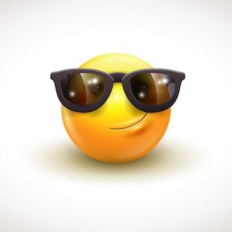 Schattige lachende emoticon dragen zwarte zonnebril emoji smiley vectorillustratie eps10