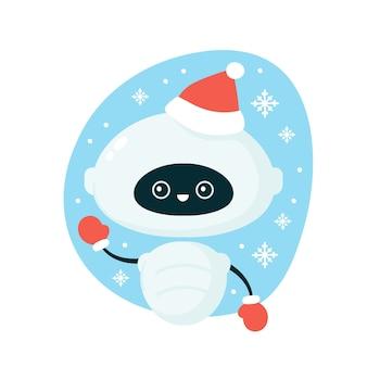 Schattige lachende gelukkige robot in kerstmuts en handschoenen