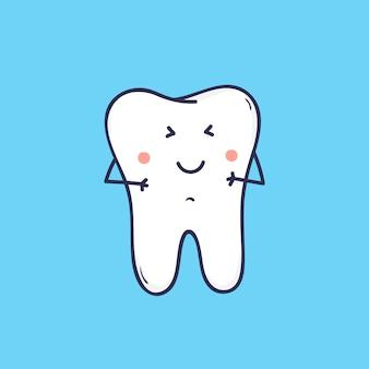 Schattige lachende kies. leuke vrolijke mascotte of symbool voor tandheelkundige kliniek of orthodontisch centrum.