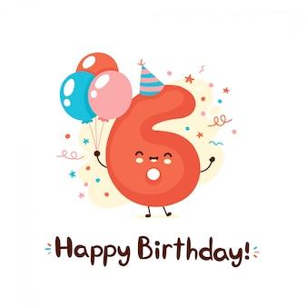 Schattige lachende nummer zes met ballonnen in feestelijke hoed. gelukkige verjaardag 6 jaar. Premium Vector