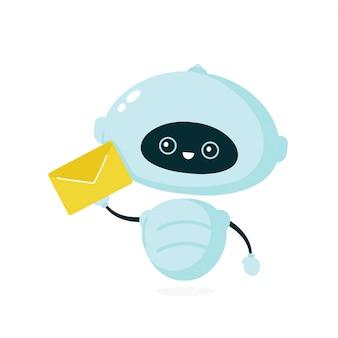 Schattige lachende robot, bot met letter. moderne platte cartoon karakter illustratie. geïsoleerd op een witte achtergrond. vriendelijke robot, chat bot concept
