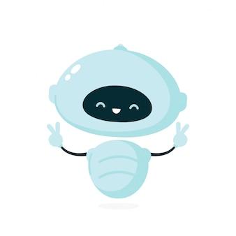 Schattige lachende robot, bot. moderne platte cartoon karakter illustratie. geïsoleerd op een witte achtergrond. vriendelijke robot, chat bot concept