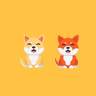 Schattige lachende shiba inu hond