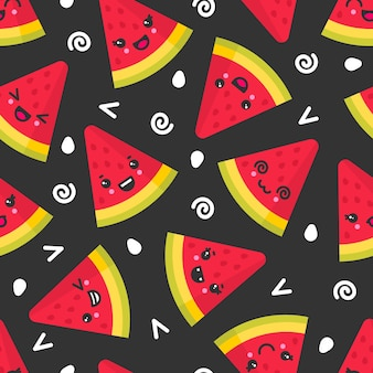 Schattige lachende watermeloen, naadloze patroon op donkere achtergrond.