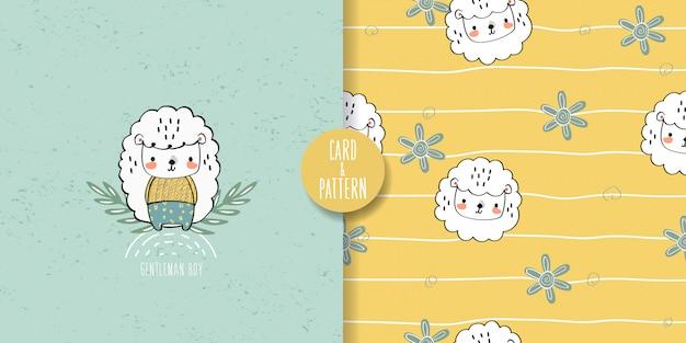 Schattige lam naadloze patroon en illustratie