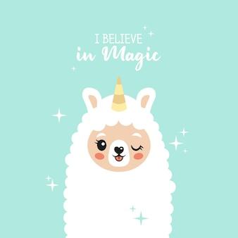Schattige lama ik geloof in magische lama eenhoorn