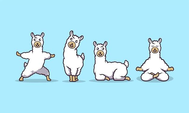 Schattige lama mascotte vectorillustratie