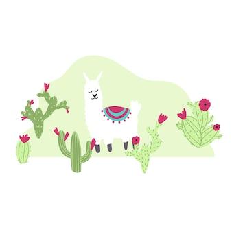 Schattige lama met cactus in cartoon handgetekende kinderachtige stijl grappig dierlijk karakter voor kinderdagverblijf