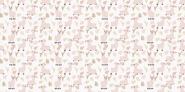 Schattige lama naadloze patroon achtergrond voor baby thema