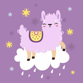 Schattige lama op de wolk