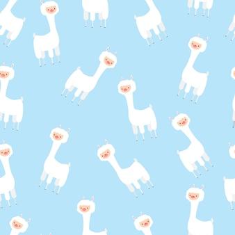 Schattige lama vector naadloze patroon voor behang