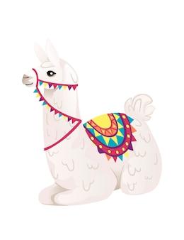 Schattige lama zittend op de grond decoratief zadel dragen met patronen cartoon dier ontwerp platte vectorillustratie geïsoleerd op een witte achtergrond zijaanzicht.