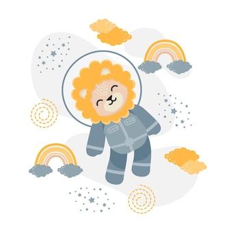 Schattige leeuw astronaut cartoon doodle illustratie
