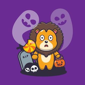 Schattige leeuw bang door geest in halloween-dag schattige halloween-cartoonillustratie