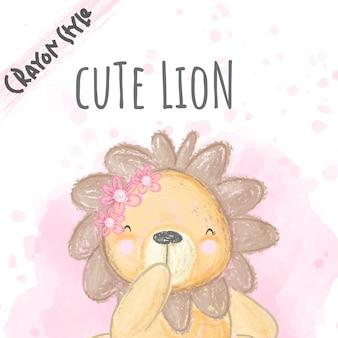 Schattige leeuw bloemen krijt stijl illustratie voor kinderen