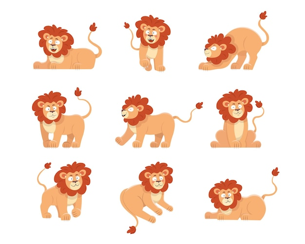 Schattige leeuw cartoon karakter illustraties set