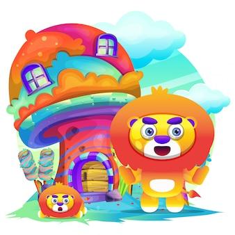 Schattige leeuw cartoon