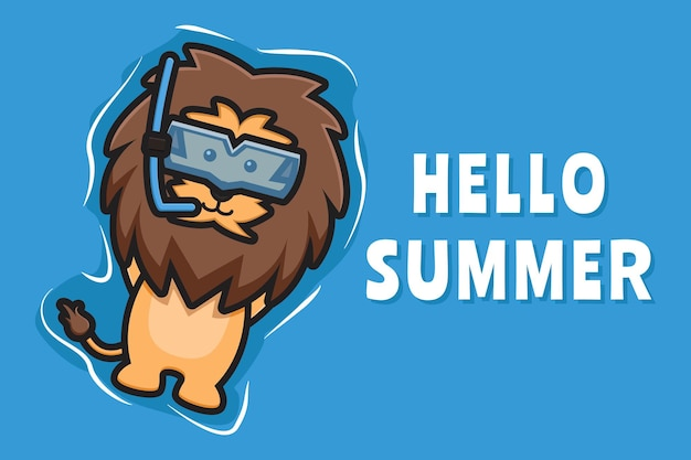 Schattige leeuw drijvend ontspant met een zomerse groet banner cartoon pictogram illustratie