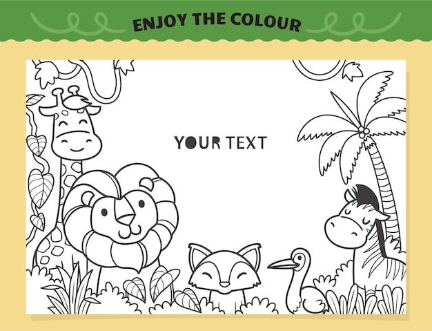 Schattige leeuw en vrienden in de jungle kleuren voor kinderen