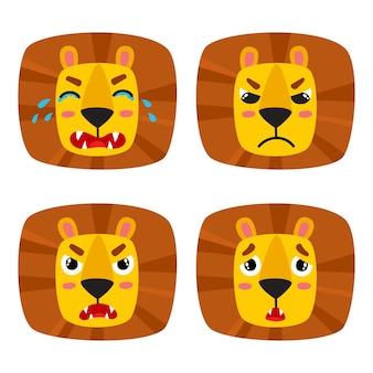 Schattige leeuw gezichtsuitdrukking, set van tekenfilm dieren emotie gezicht geïsoleerd op wit