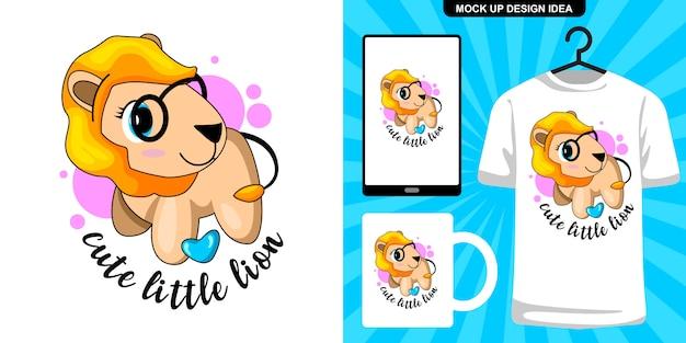 Schattige leeuw illustratie en merchandising