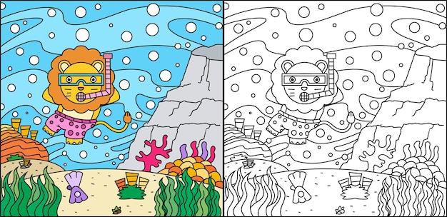 Schattige leeuw kleurplaat paginaontwerp voor kinderen