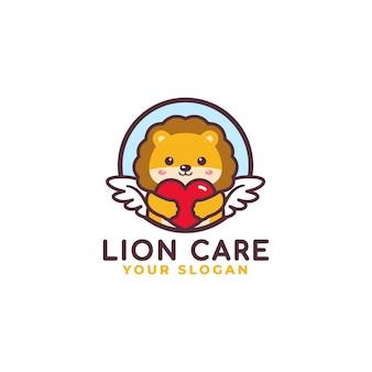 Schattige leeuw knuffelen hart zorg logo