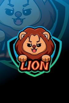 Schattige leeuw logo e sport illustratie