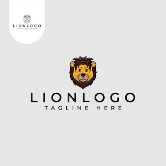 Schattige leeuw logo icoon