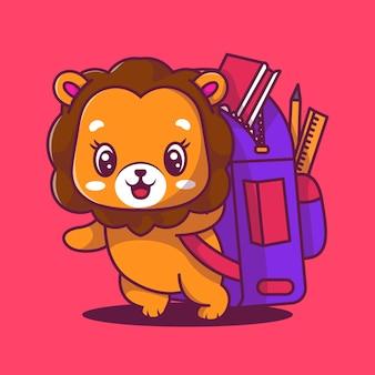 Schattige leeuw met zak pictogram cartoon vectorillustratie