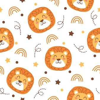 Schattige leeuw patroon illustratie ontwerp