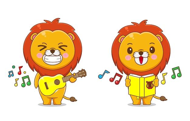 Schattige leeuw zingen en gitaar spelen