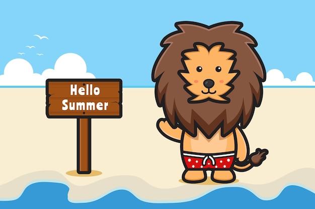 Schattige leeuw zwaaiende hand met een zomerse groet banner cartoon pictogram illustratie