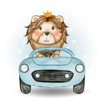 Schattige leeuwenkoning rijden een auto aquarel illustratie