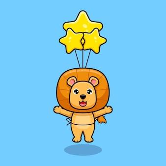 Schattige leeuwenkoning zwevend naar de lucht met ballon ontwerp pictogram illustratie