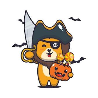 Schattige leeuwenpiraten met zwaard met halloween-pompoen schattige halloween-cartoonillustratie