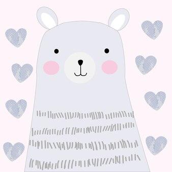 Schattige lente teddy blauwe beer doodle kunst
