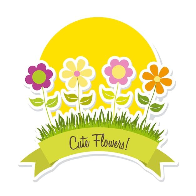 Schattige lentebloemen over witte achtergrond vectorillustratie