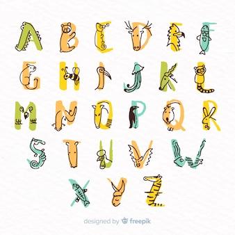 Schattige letters gemaakt van schattige dieren