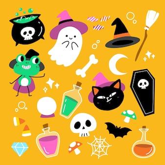 Schattige leuke enge halloween-tekenset illustratie ontwerpcollectie