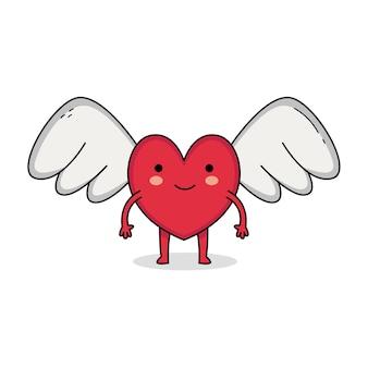 Schattige liefde vleugel stripfiguur geïsoleerd op wit