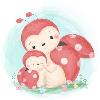 Schattige lieveheersbeestje moederschap illustratie