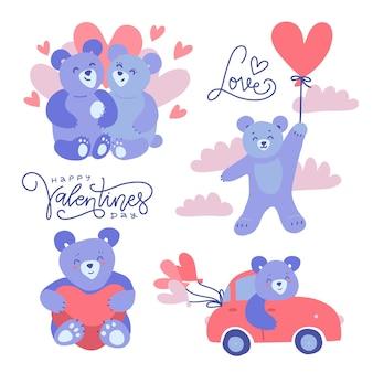 Schattige lila teddyberen - koppels en alleenstaand