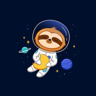 Schattige luiaard astronaut knuffelen de maan cartoon vector pictogram illustratie